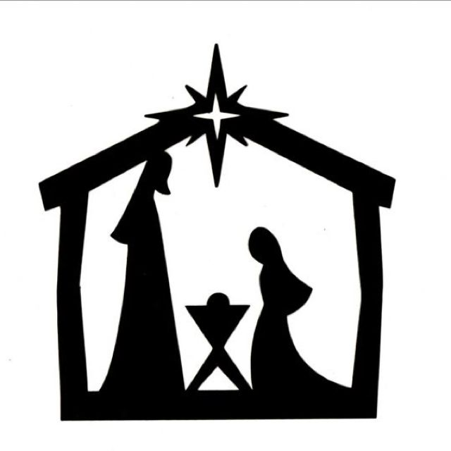 Black And White Christmas Clipart Nativity Silouette.
