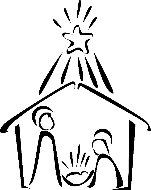 Black And White Christmas Clipart Nativity.