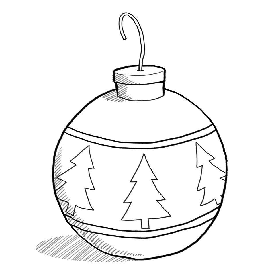 Free Christmas Ornament Clip Art Black And White, Download.