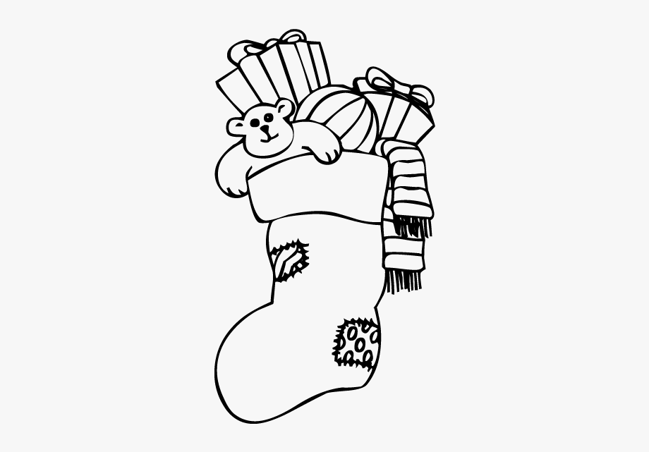 Christmas Stocking Clipart Black And White.