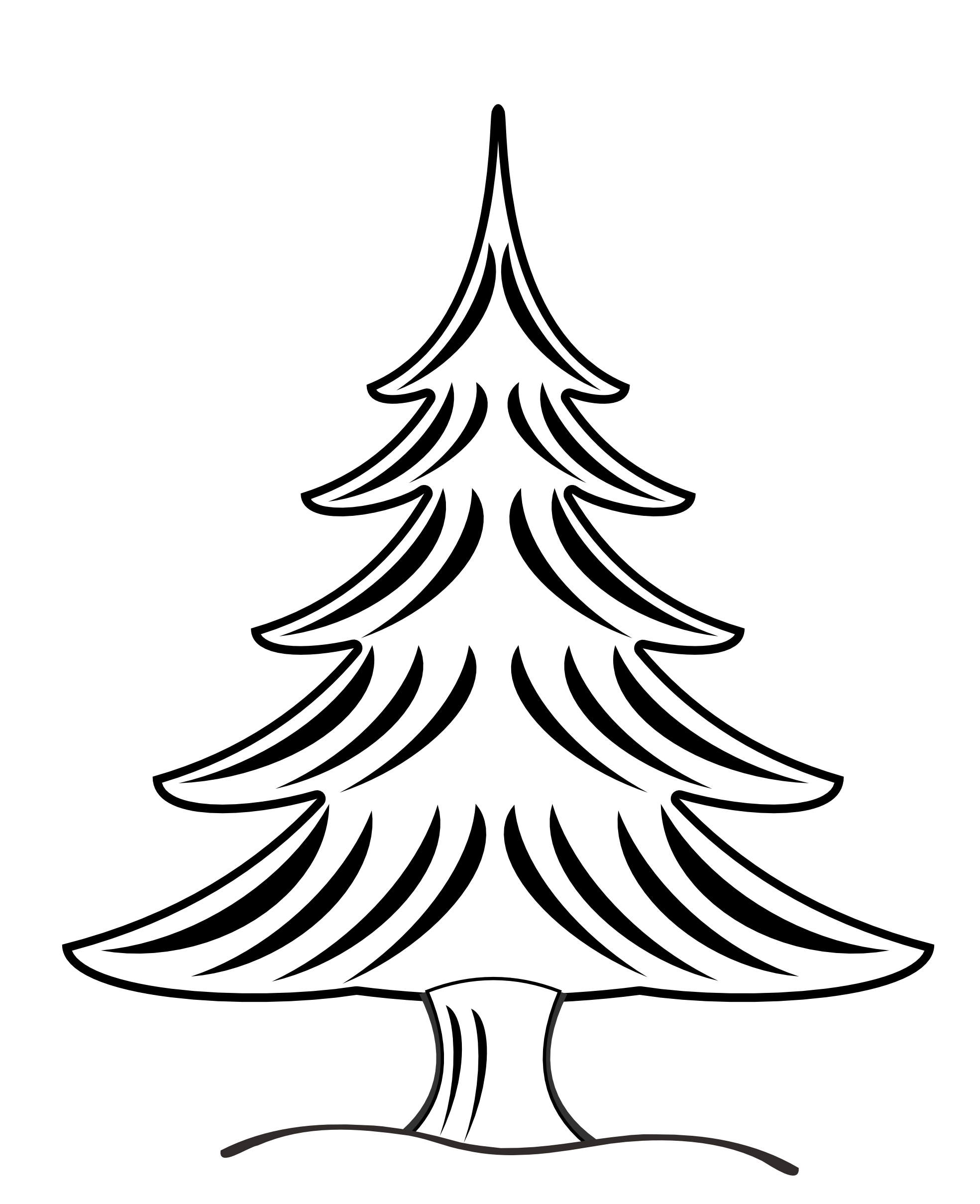 Black And White Christmas Tree Clip Art free image.