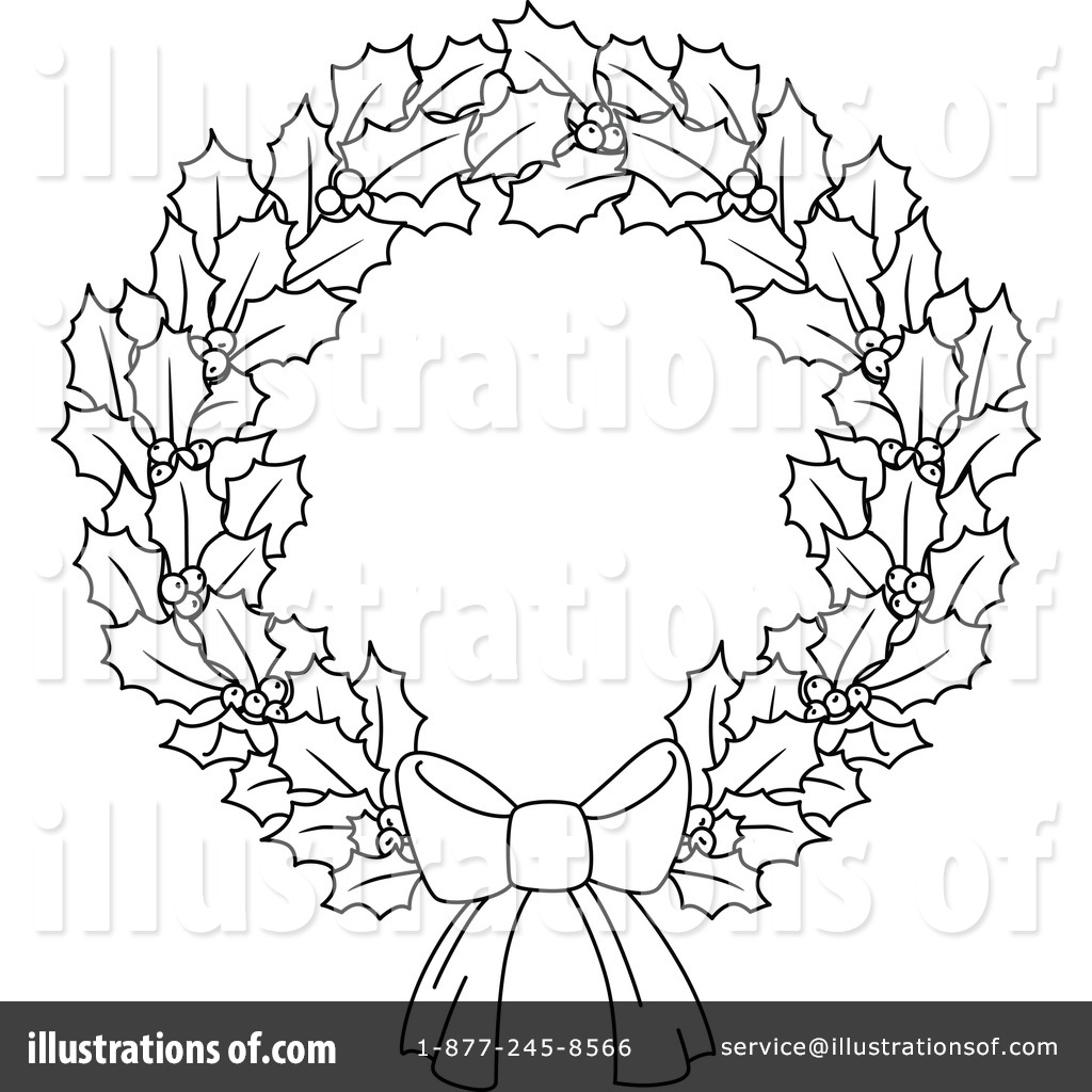 Christmas wreath clipart black and white 4 » Clipart Station.