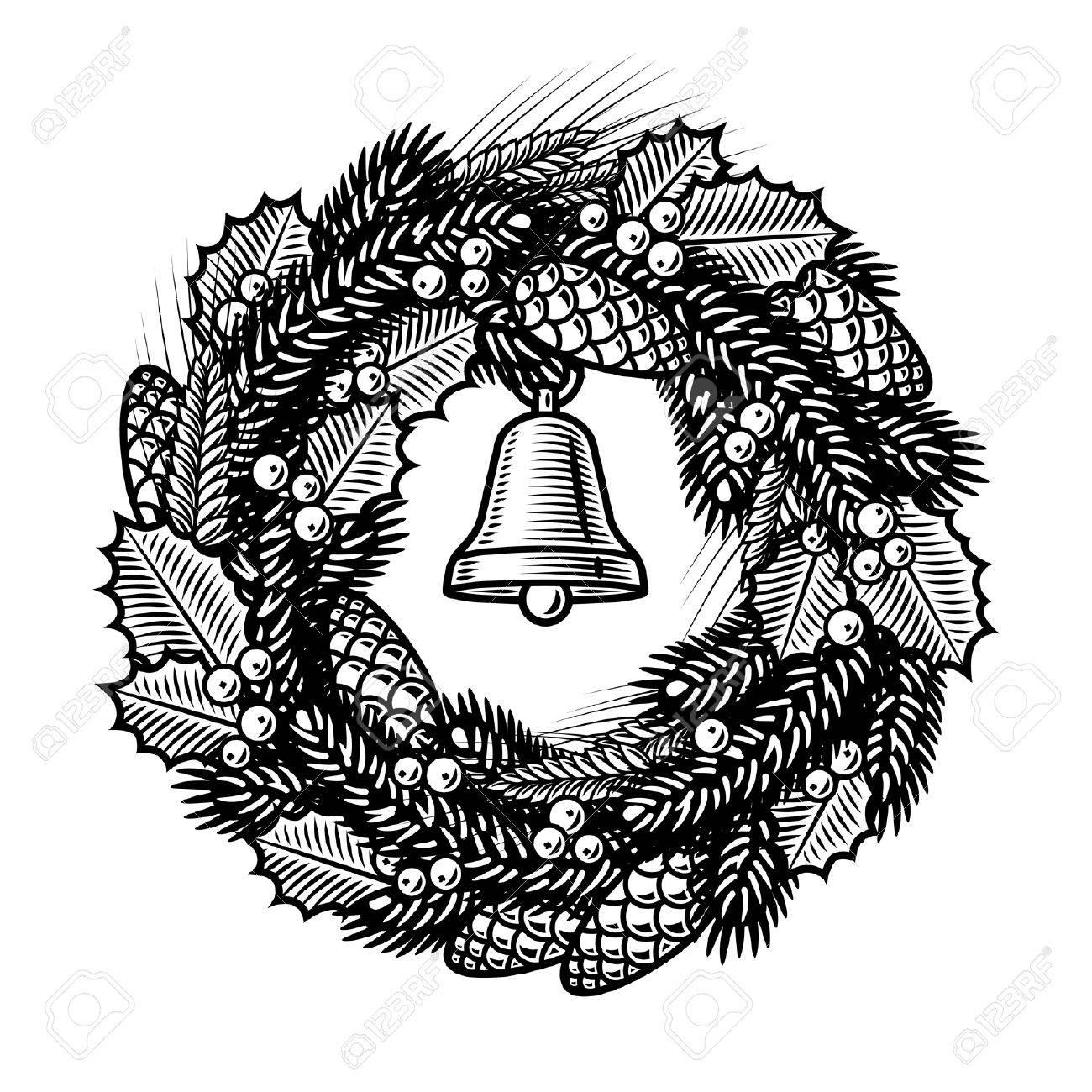 Retro Christmas wreath black and white.