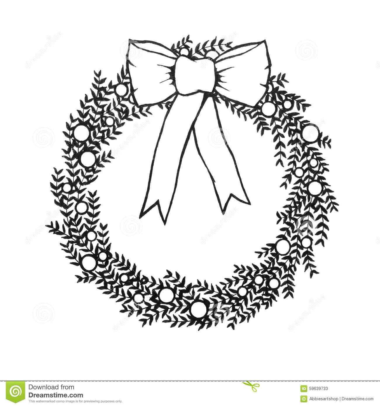 Black And White Christmas Wreath With Bow, Hand Drawn Illustraiton.