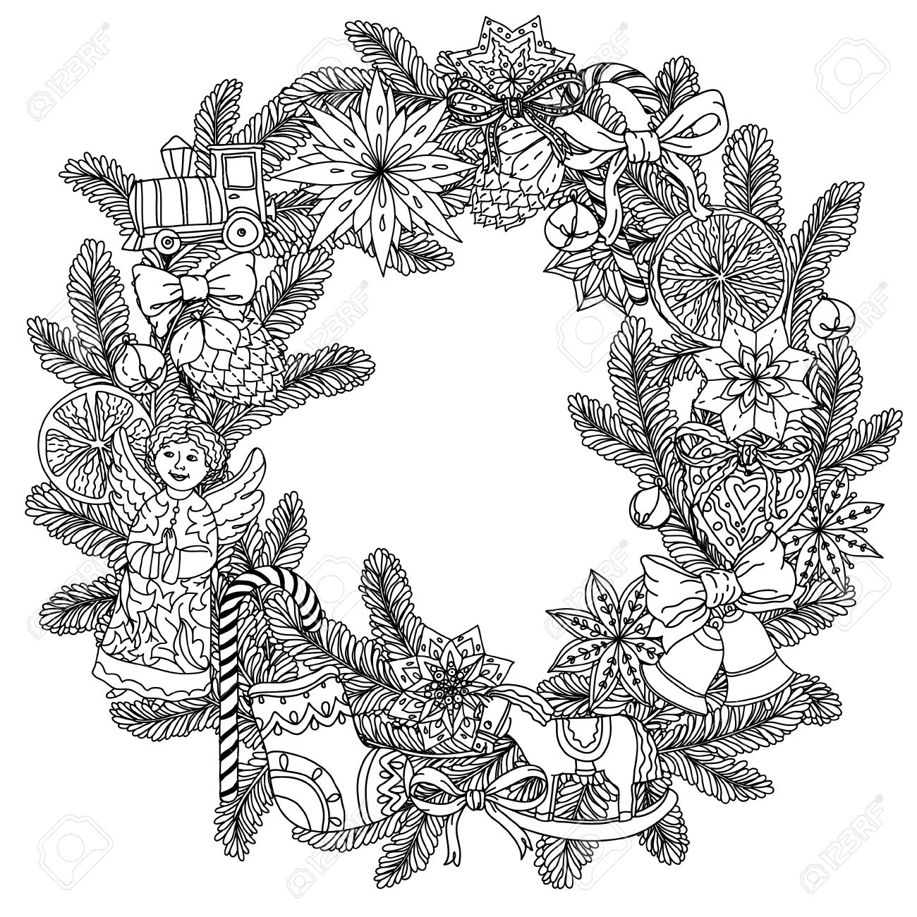 Christmas wreath with decorative items, Black and white. The...