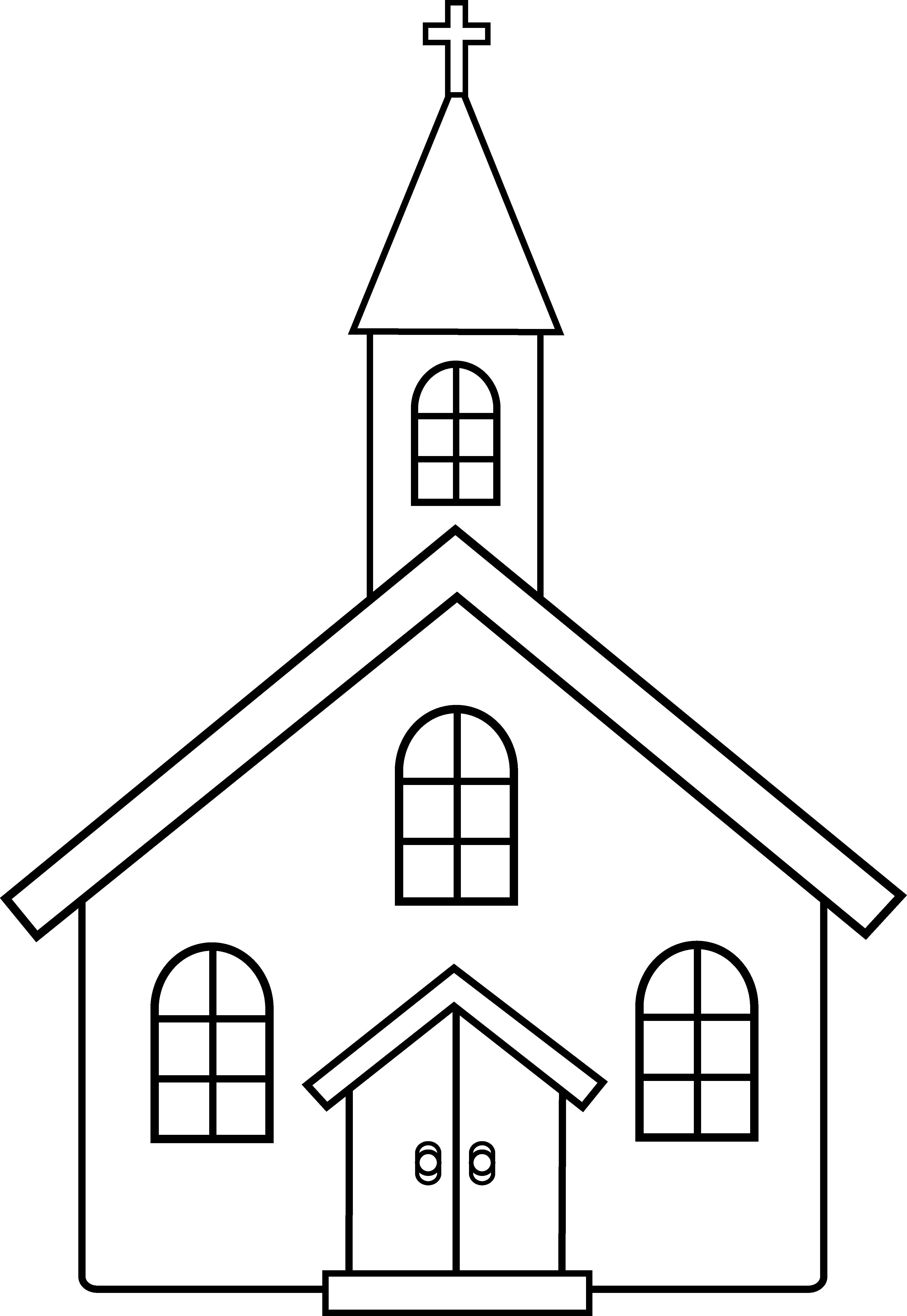 Black And White Clipart Church.