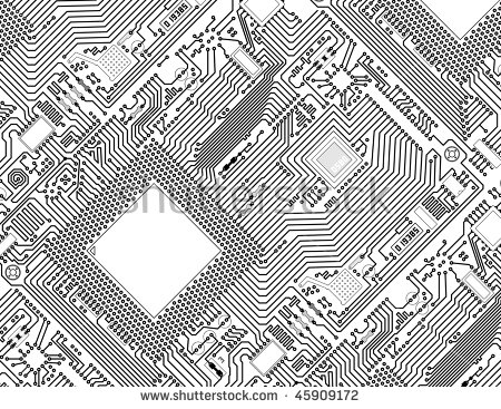 Circuit Board Vector Computer Seamless Background Stock Vector.