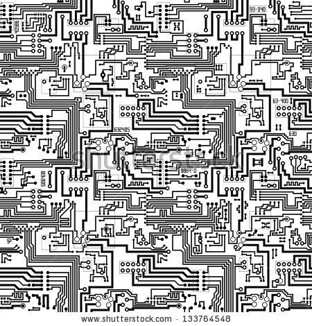Circuit Board Vector Computer Seamless Technological Stock Vector.