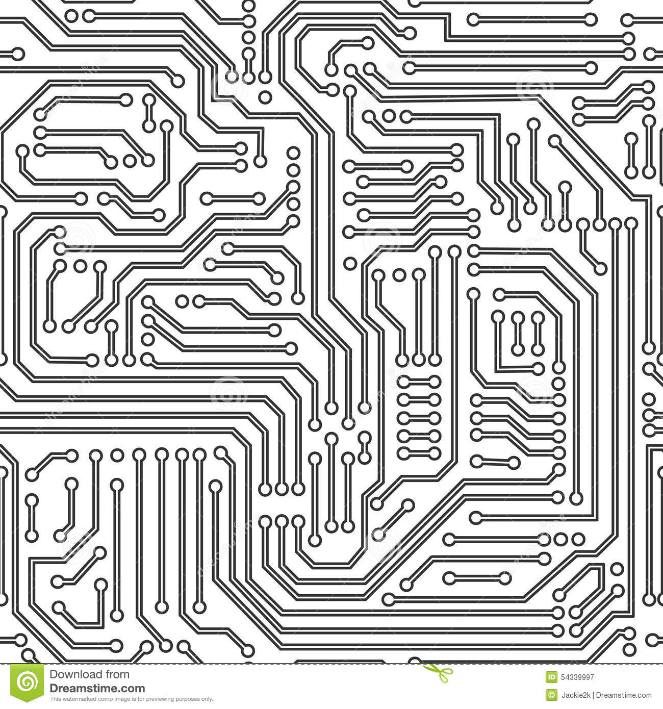 Black And White Circuit Board Clipart.