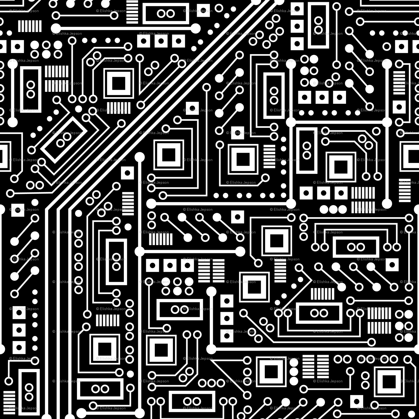 Robot Circuit Board (Black and White) giftwrap.