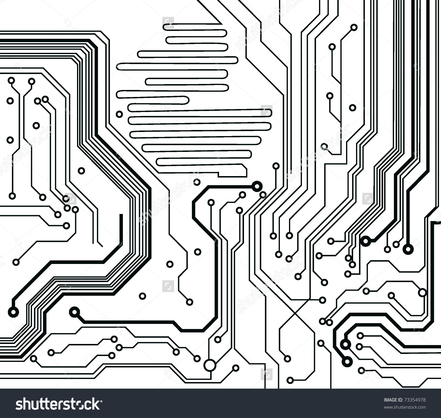 Circuit Board Pattern Blackandwhite Vector Illustration Stock.