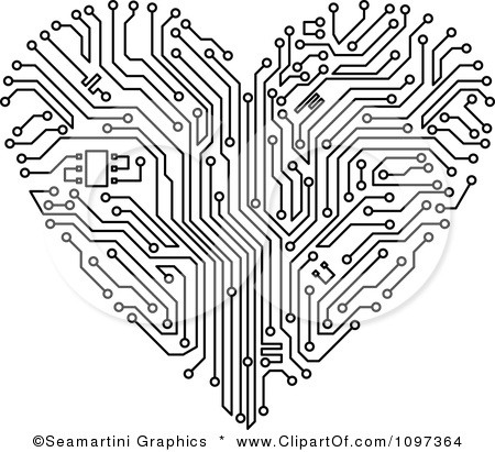 Clipart Black And White Circuit Board Heart.