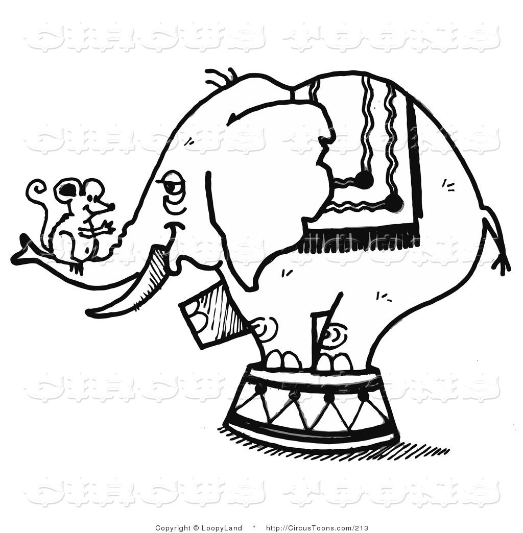 Circus Clipart of a Black and White Sketched Circus Elephant with a.