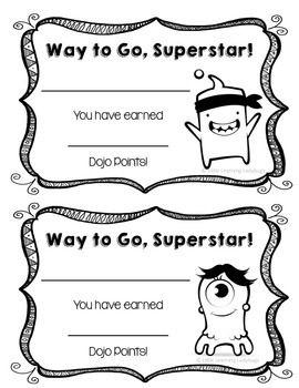 Class Dojo Point Certificates.