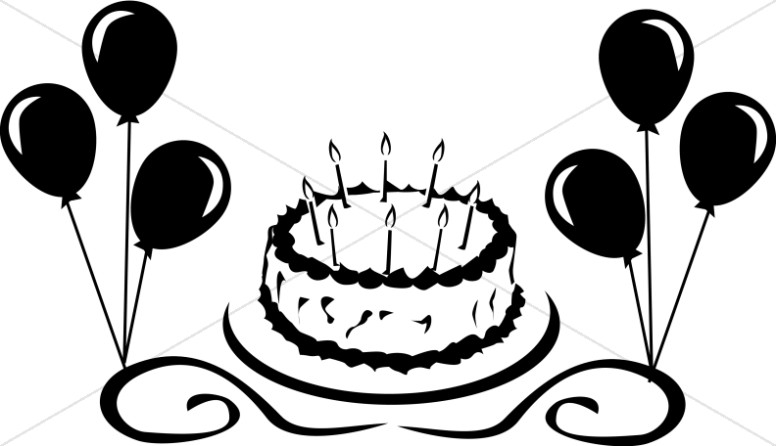 Birthday Cake with Balloons Graphic.