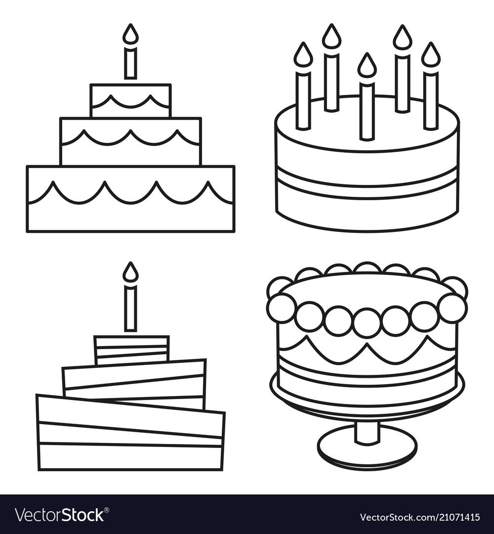 Line art black and white birthday cake set.
