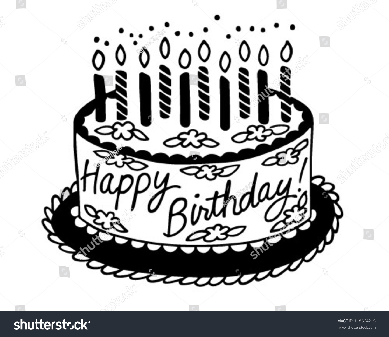 Gallery For Happy Birthday Cake Clipart Black And White.