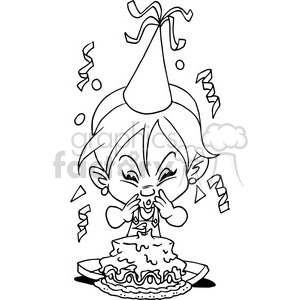girl birthday party cartoon in black and white clipart. Royalty.