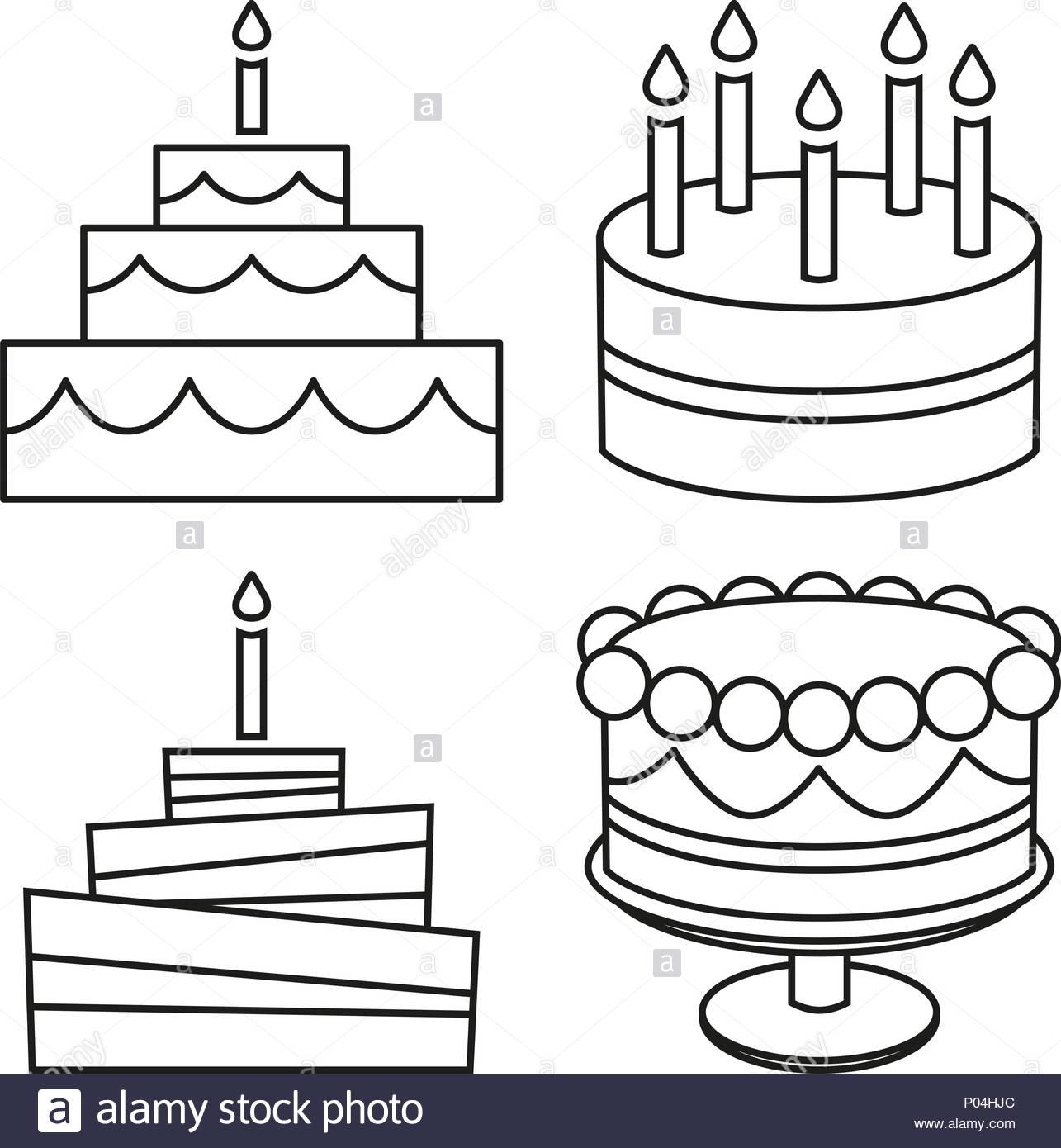 Line art black and white birthday cake set Stock Vector Art.