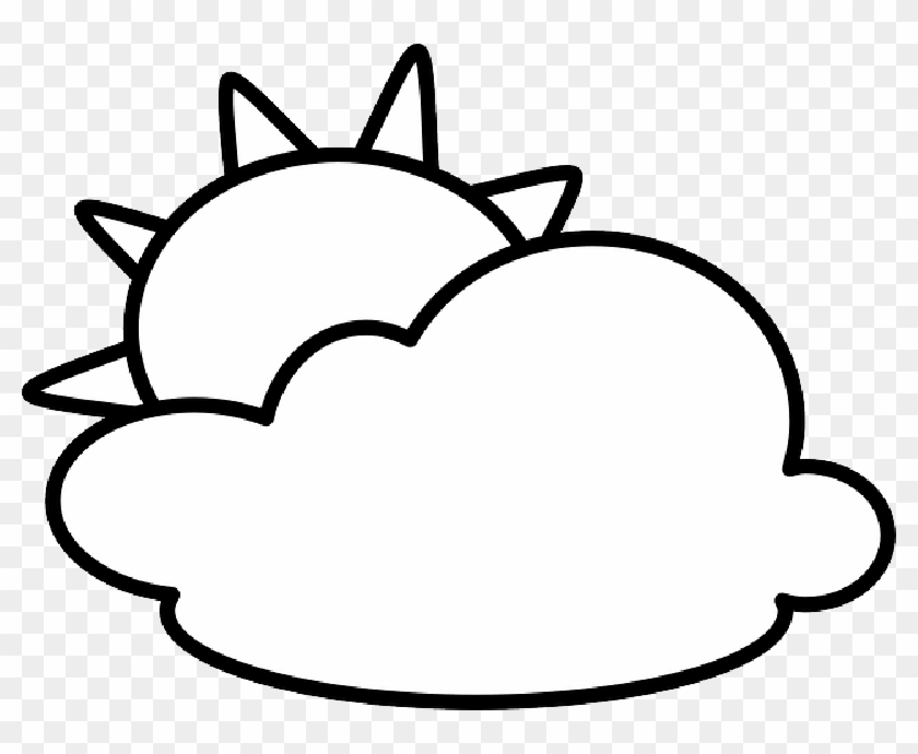 Sun And Clouds Clipart Black And White ,.