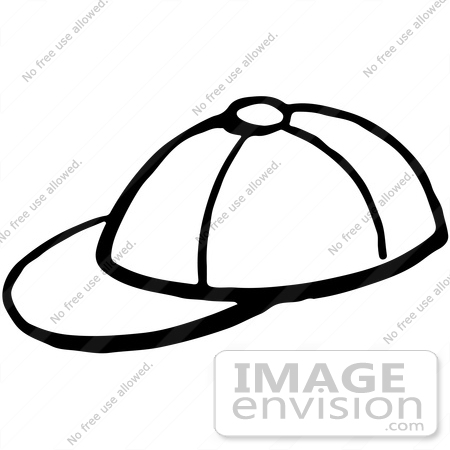 Clipart Of A Baseball Cap In Black And White.