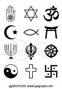 Religious symbols black & white.