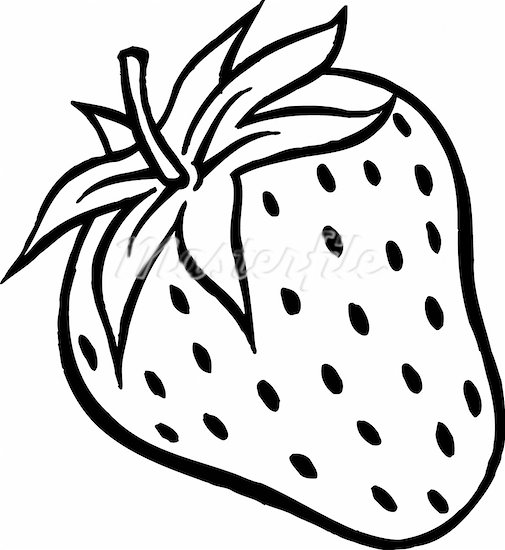 Black and white strawberries clipart.