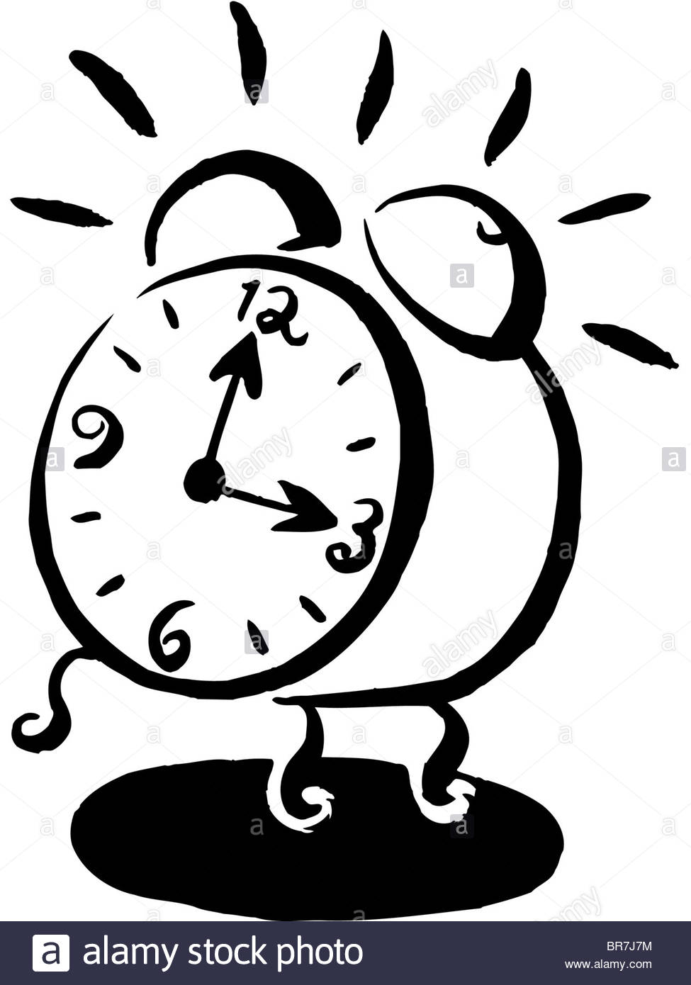 Alarm Clock Ringing Clipart Black And White.