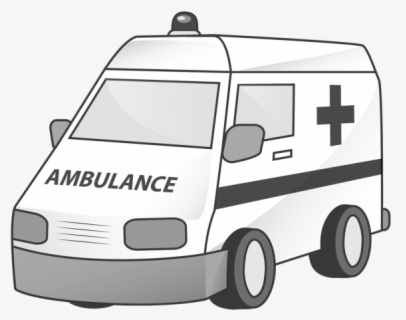 Free Ambulance Black And White Clip Art with No Background.