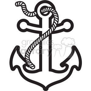 anchor with rope design tattoo illustration black white clipart.  Royalty.