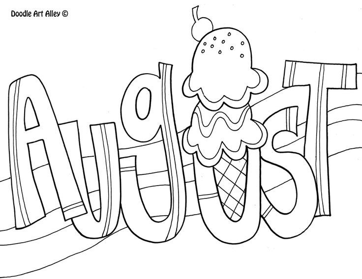 August clipart black and white, August black and white.