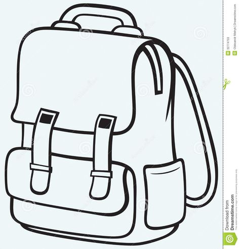 Backpack Black and White Clipart.