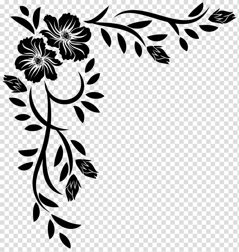 Corners , black and white flower illustration transparent.