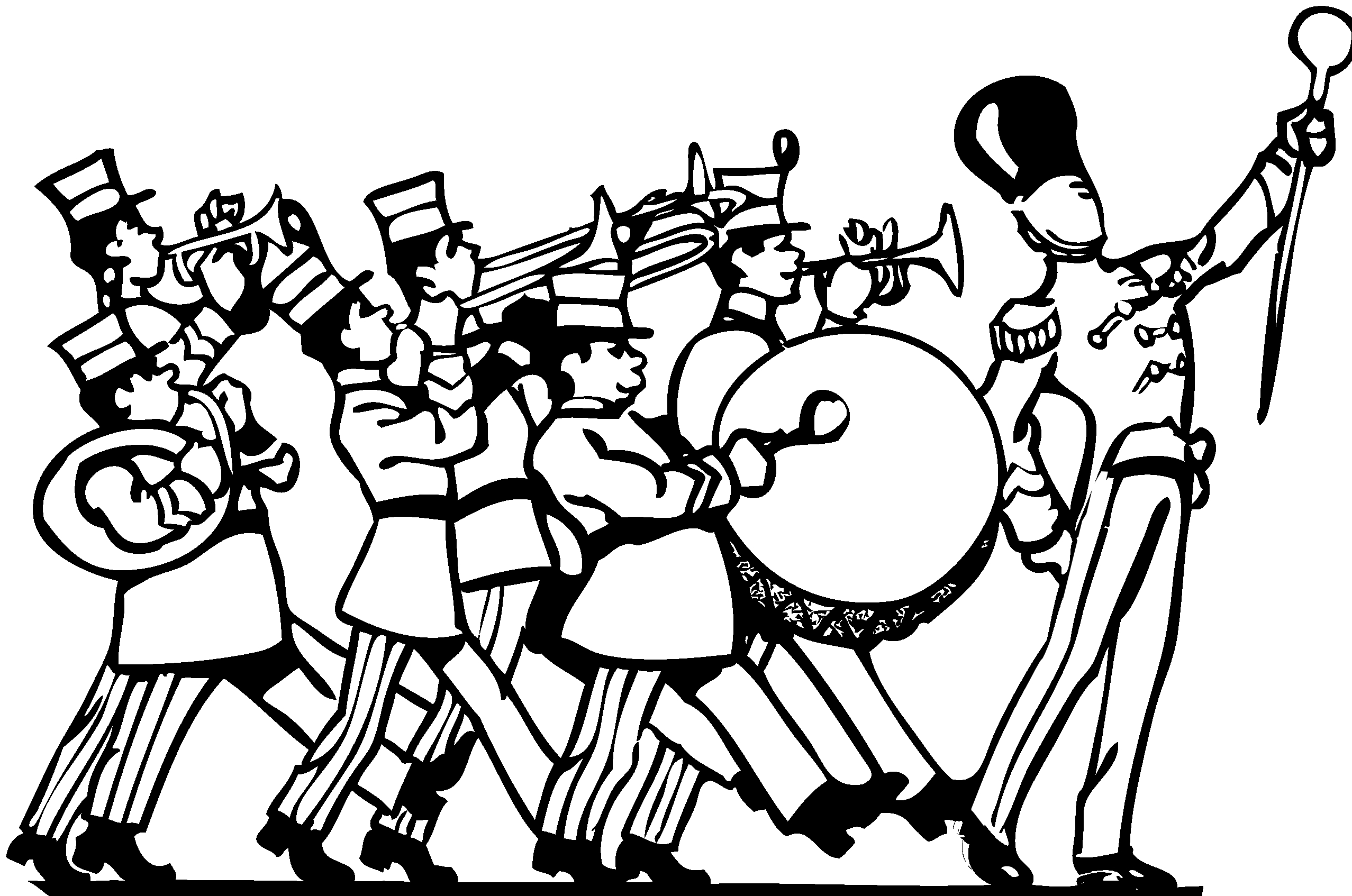 Band clipart black and white, Band black and white.
