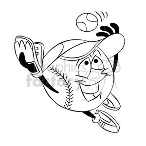cartoon baseball mascot speedy catching a ball black and white clipart.  Royalty.