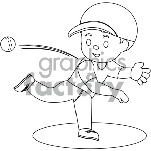 black and white coloring page boy throwing baseball vector illustration  clipart. Royalty.