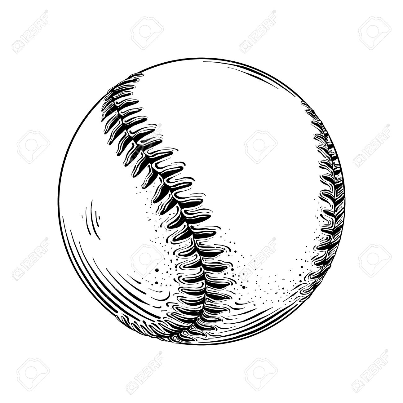 Baseball ball in black isolated on white background..