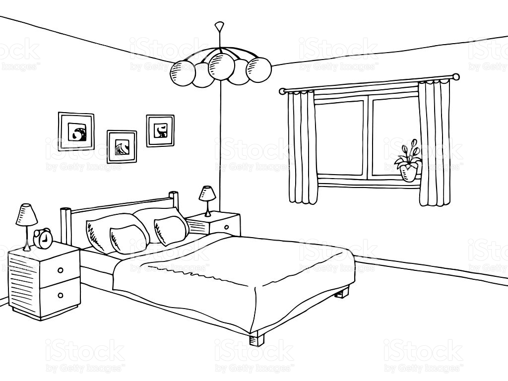 Black And White Bedroom Clipart.