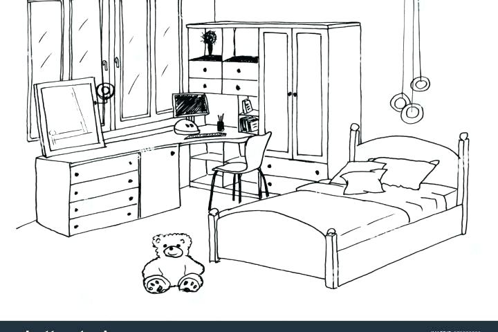 Bedroom Picture Clipart Kids Black And White Furniture.