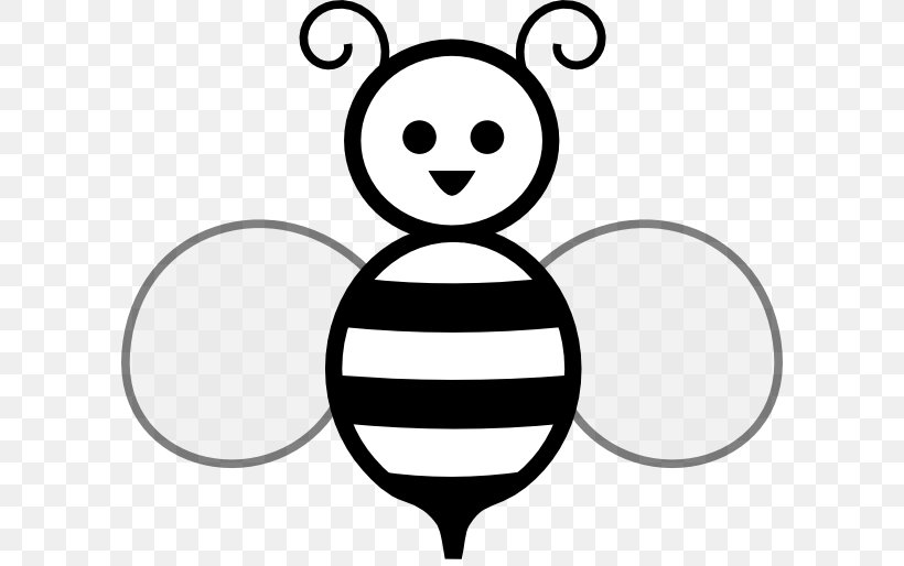 Bee Black And White Free Content Clip Art, PNG, 600x514px.