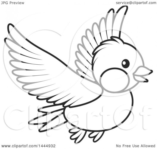 Clipart of a Cartoon Black and White Flying Bird.