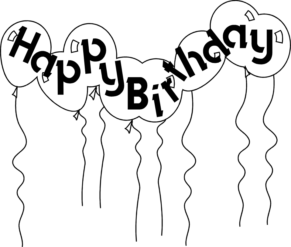 Vector and Happy Birthday Balloon Clipart Black And White 7237.