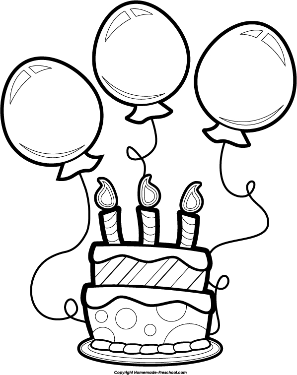 birthday cake clip art black and white.
