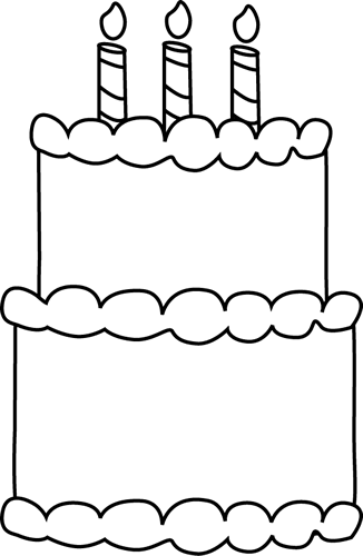 Black and White Birthday Cake Clip Art.