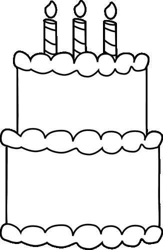 Black and White Birthday Cake Clip Art.
