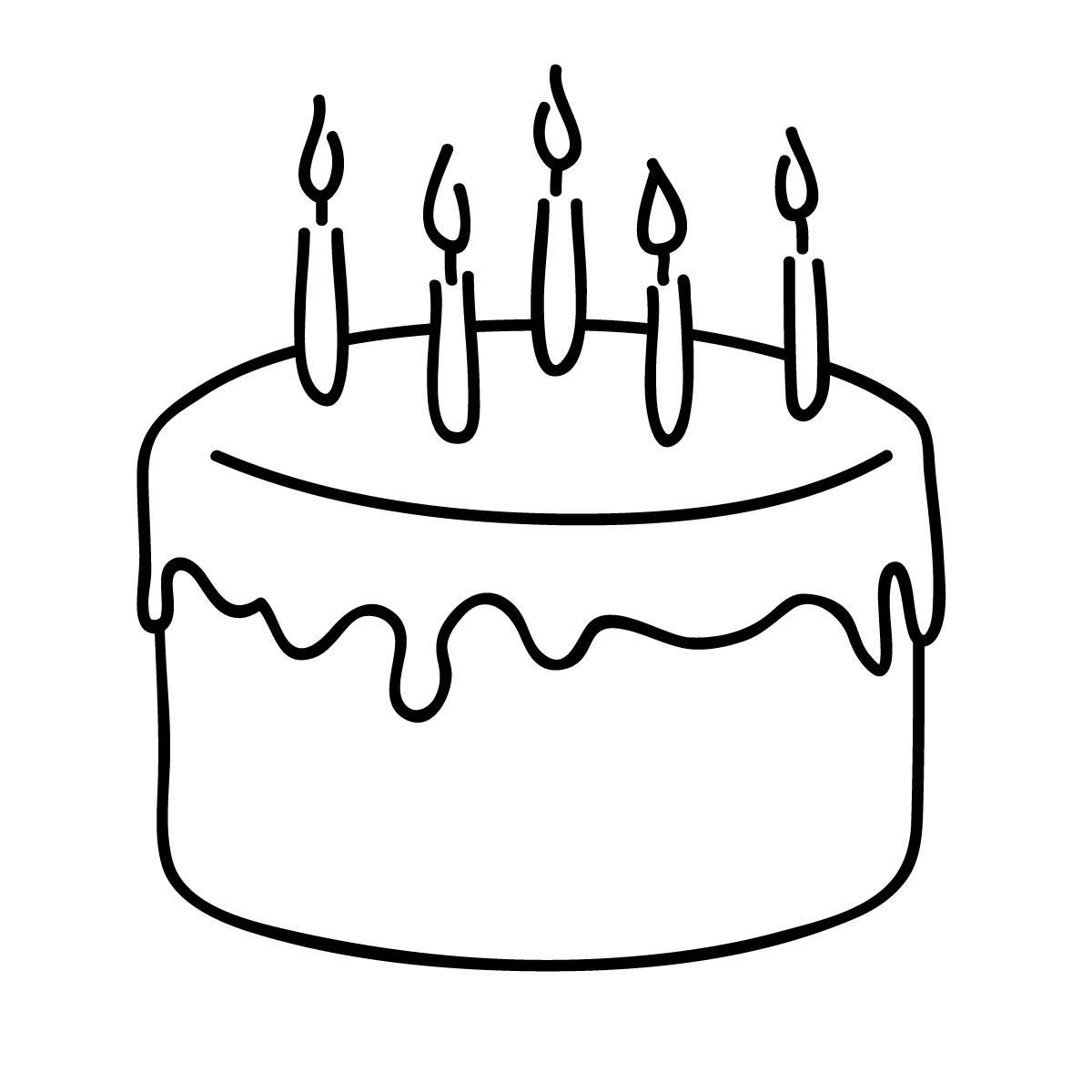 Birthday Cake Clipart Black And White.