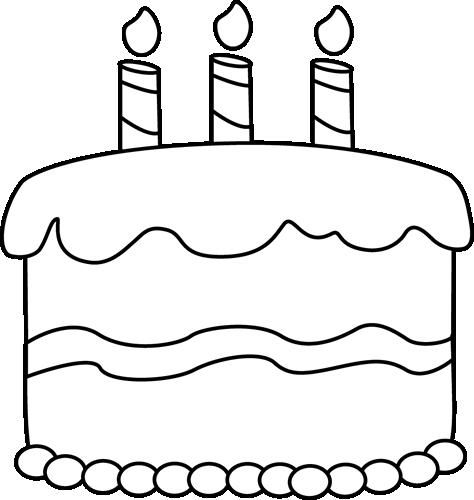 birthday cake clip art black and white.
