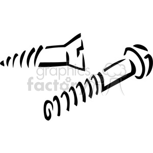 black and white screw and bolt clipart. Royalty.