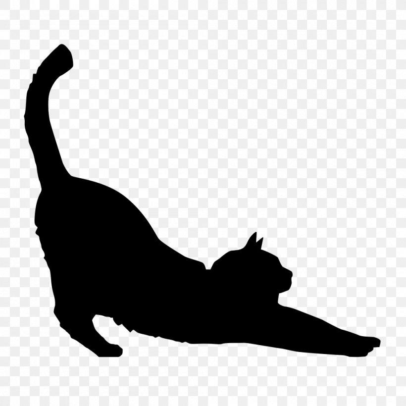 Black Cat Silhouette Kitten Clip Art, PNG, 1000x1000px, Cat.