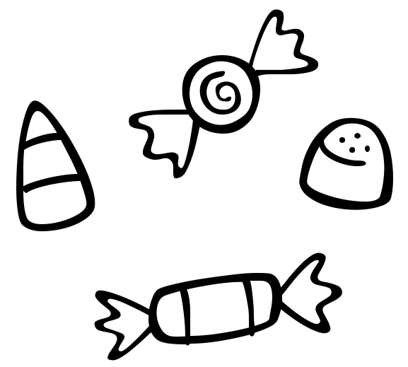 Free Halloween Candy Clipart Black And White, Download Free.